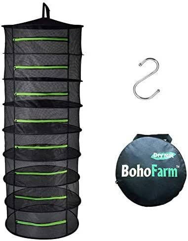 BoHoFarm Herb Drying Rack Herb Dryer Net w/Zippers Black Mesh Tray Dry (D24 xH67 8-Tier, Black w/Green Zippers)