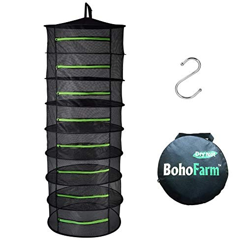 BoHoFarm Herb Drying Rack Herb Dryer Net w/Zippers Black Mesh Tray Dry (D24 xH67 8-Tier, Black w/Green Zippers) (Sun Food Dehydrator)