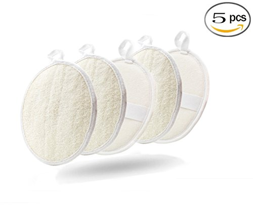 Exfoliating Loofah Sponge Pads - Large 3.5x5 - 100% Natural Luffa and Terry Cloth Materials Loofa Sponge Scrubber Body Glove - Men and Women (Pack of 5)
