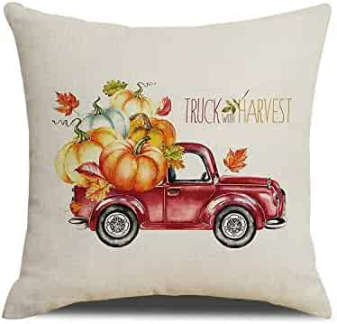 Touch Colourful 18x18 Inches Fall Pumpkin Decor Pillow Cover Truck with Harvest Pillow Cushion Cover for Sofa Bedroom Living Room Thanksgiving Gift