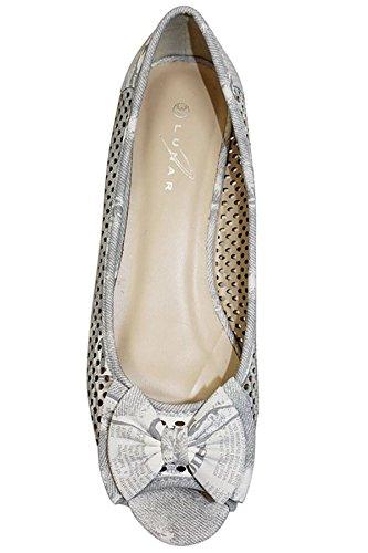Femme Avant Gris Été Sur Ouvert Sandale Pour Chaussure Bout Plate Noeud Fantasia 4qFYtPxW
