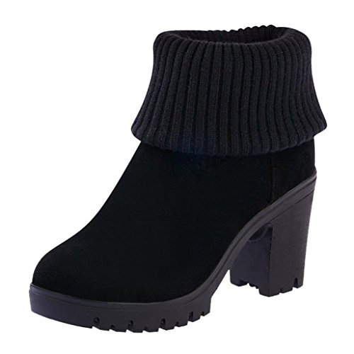 Botas De Invierno Para Mujer Inkach | Kintted Knee High Bota Zapatos | High Tube | Tacones Altos Botines Negro
