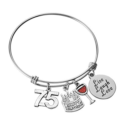 75th Birthday Bangle Charm Bracelet