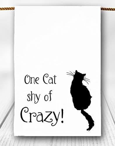 8b156d2a6c804 Amazon.com: One Cat Shy of Crazy Tea Towel: Handmade