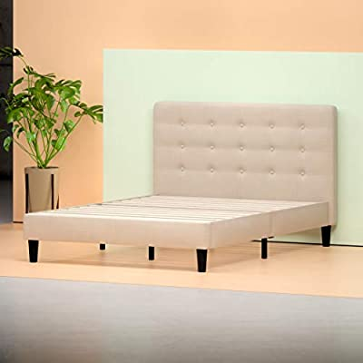 Zinus Upholstered Button Tufted Platform Bed with Footboard/Mattress Foundation/Easy Assembly/Strong Wood Slat Support