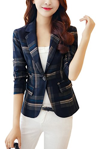 Corto Donne Blu Cappotto Primavera Autunno Moda Reticolo Cardigan Tailleur Outerwear Manica E Jacket A Casual Lunga Giacche Tops Risvolto BZUUASx