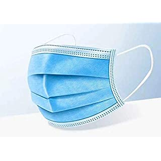 VSYS 50Pcs Disposable Face Mask 3 Ply Filter with Elastic Earloop, 3 Layer Filter Safety Dust Mask Soft Face Cover Blue by VSYS