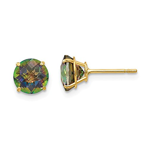 14k Yellow Gold Round Mystic Topaz 6mm Post Stud Earrings Fine Jewelry Gifts For Women For Her