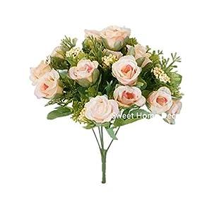 Silk Roses --- Sweet Home Deco Sweet Home Deco 11'' Silk Mini Cute Rose Artificial Flower Bush (6 Stems/15 Flower Heads) (3, Light Peach) 60