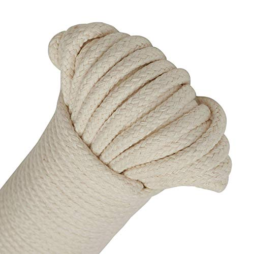 (NOBBEE Craft Rope 1/4 INCH Natural Cotton Rope 65 Feet Long Clothesline All Purpose Rope for DIY Rope Basket/Mat as Candle Replacement Wick Self Watering Rope for Potted Plants (1 Solid Rope) )