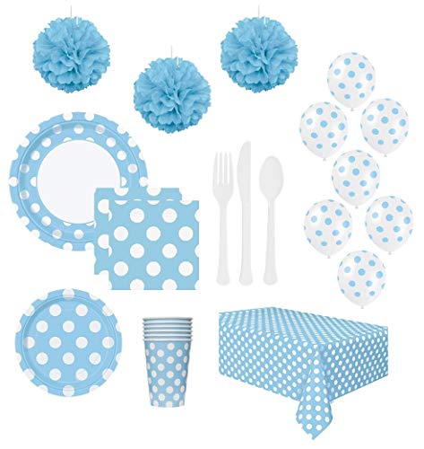 FAKKOS Design Baby Boy Blue Shower Birthday Party Supplies with Decorations for 24 Guests - Plates Napkins Cups Cutlery Table Cover Balloons and Tissue Paper Pom Poms