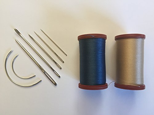Upholstery Repair Kit Coats Extra Strong Upholstery Thread Plus Heavy Duty Assorted Hand Needles: 7 Needles and 2 spools 150 Yards Each (Soldier Blue & Hemp) ()