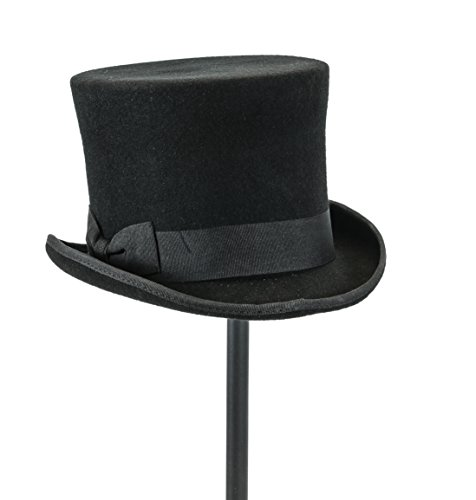Velvetcrow Top Hat Wool Felt Flat Victorian Style Conch Mad Hatter Theater Quality -