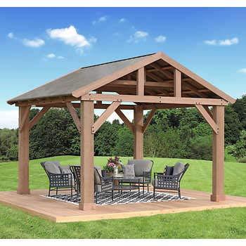 Pre-Stained Premium Cedar Wood & Aluminum 14' x 12' Outdoor Pavilion Gazebo