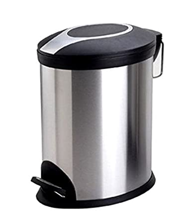 Bathla Silver and Black Stainless Steel Step Bin (12 Ltrs)