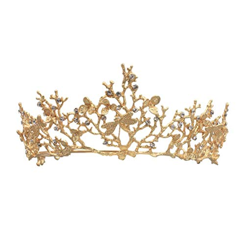Lurrose Golden Bridal Branch Crown Dragonfly Tiara for Party or Pageant (HG409-A) ()