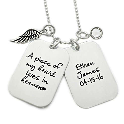 (Men's Memorial Dog Tag Necklace - A Piece of My Heart Lives In Heaven Memorial Necklace - Engraved Personalized Jewelry -)