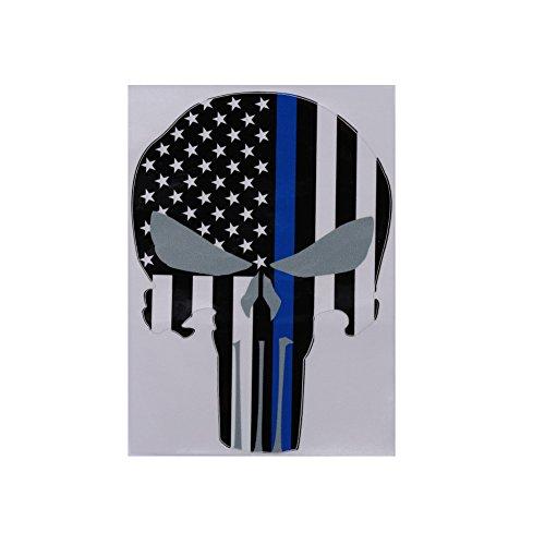 weituoli - Etiqueta engomada de la ventana del cuerpo del coche En forma de cráneo Bandera estadounidense de EE. UU. Rayas...