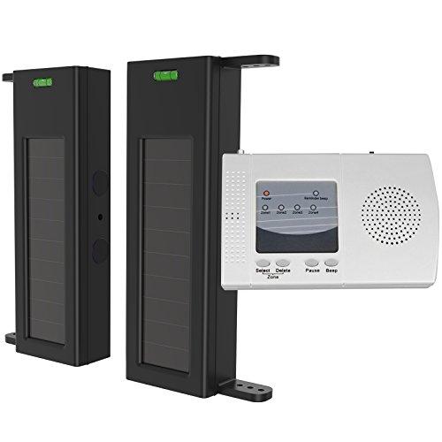 HTZSAFE Solar Wireless Driveway Alarm-190 Feet Wide Sensor Range 1/4 Mile Long Range,Outdoor Weatherproof Sensor & Detector No Wiring No Need Replace Battery,Perimeter Alarm System Driveway Alert Kit by HTZSAFE