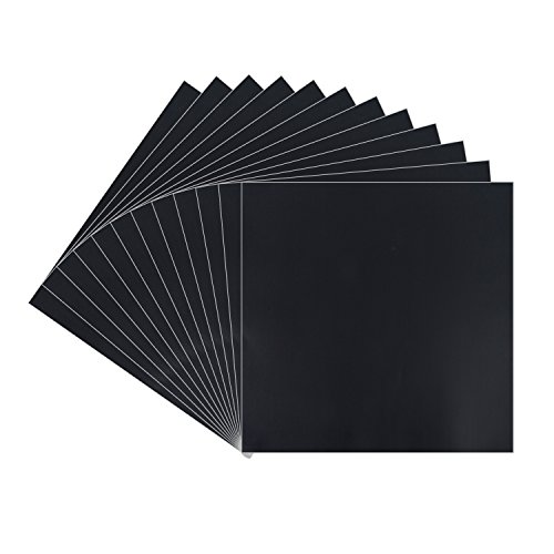 Black Matt Vinyl Sheets - 12 Pack 12' X 12'- Permanent Adhesive Backed Vinyl Sheets for Cricut,Silhouette Cameo,Craft Cutters,Printers,Letters,Decals