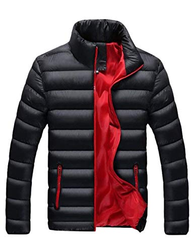 Sleeve with schwarz Long Jacket Men's Jacket Jacket HX Men's Outerwear Comfortable 2 Collar Stand Jacket fashion Quilted Sizes Sweat Zipper Clothing Down CqP6FwS