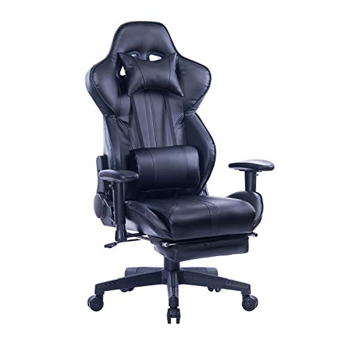 HEALGEN Gaming Chair with Retractable Footrest Gamer Chair Racing Style Gaming Chairs PC Computer Video Game Chair High Back Ergonomic Office Chair with Headrest Lumbar Support Cushion (8239 Black)