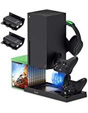 $43 » Vertical Stand for Xbox Series X with Cooling Fan, Charging Station Dock for Xbox Series X Controller with 10 Game Storage Organizer, Gaming Headset Stand and 2X1400 mAh Rechargeable Battery Packs