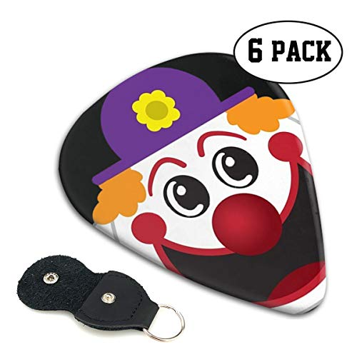 SLADDD1 Halloween Cartoon Clown Face Classic Colorful Guitar Picks Plectrums for Electric Guitar, Acoustic Guitar, Mandolin, and Bass - 6 Pack ()