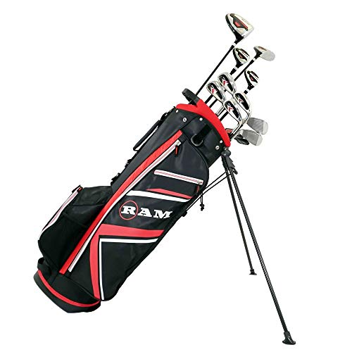 RAM Golf Accubar 16 pc Golf Clubs Set - Graphite Shafted Woods, Steel Shafted Irons - Mens Right Hand - Stiff Flex