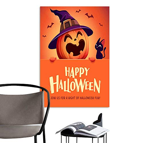 UHOO Art Painting Home ModernHappy Halloween! Jack O Lantern Pumpkin Witch hat with Big Signboard 1.jpg Perfect Contemporary Art Paintings for The Wall Without a frameDue -
