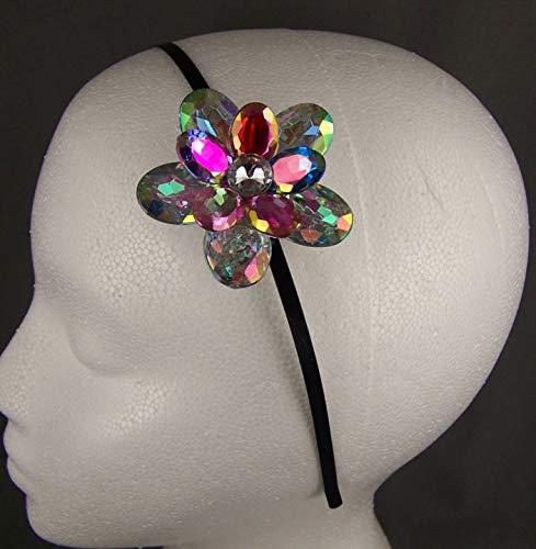 Shimmer Faceted Crystal Flower Thin Skinny Dressy Headband Hair Band Accessory Girls Headbands For Women ()