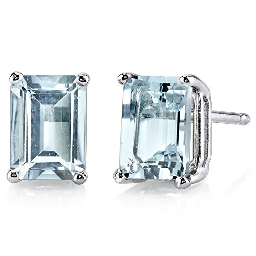 14 Karat White Gold Emerald Cut 1.75 Carats Aquamarine Stud ()