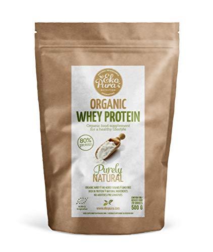 Organic Whey Protein – Purely Natural (Bio wei eiwitten) – 80% Eiwit, 500 gram, van Gras Gevoerde Koeien, zonder…