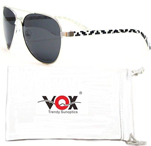 Polarisés Lunettes de soleil aviateur Aztec Navajo de lunettes de mode tribal de Vox Femmes – Cadre noir et blanc Navajo – Lentille de Fumée 8WQUI
