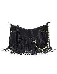 Hoxis Tassel Faux Suede Leather Hobo Cross Body Chain Shoulder Bag Womens Skatchel