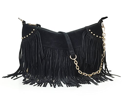 Hoxis Tassel Faux Suede Leather Hobo Cross Body Chain Shoulder Bag Women's Satchel (Black)