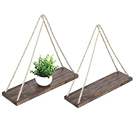 MyGift 17-inch Rustic Wood Hanging Rope Swing Shelves, Set of 2