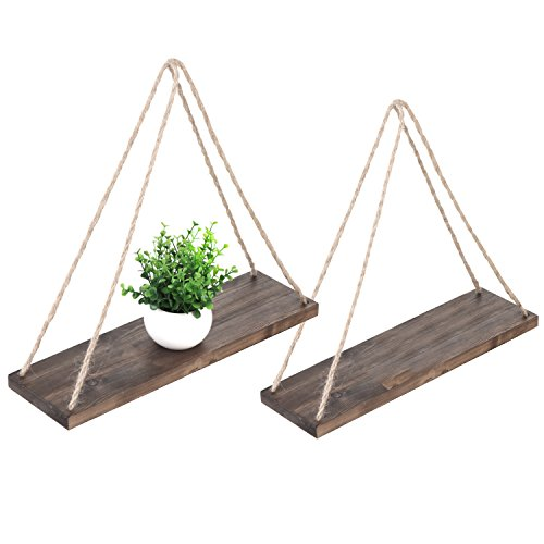 MyGift 17Inch Distressed Wood Hanging Swing Rope Floating Shelves Set of 2 Brown
