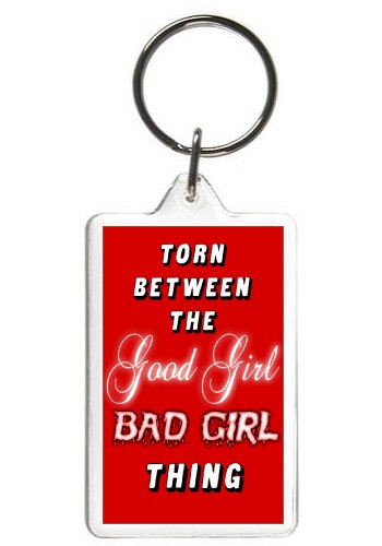 Amazoncom Good Girl Bad Girl Keychain Funny Words Quotes Key Tag
