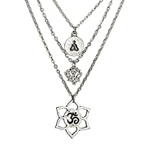 Silver Lotus Flower Pendant Necklaces 3 Layers Chain Necklace for Women