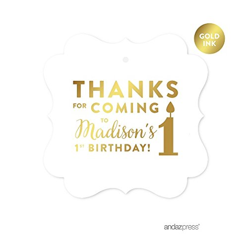 (Andaz Press Personalized Fancy Frame Square Birthday Gift Tags, Metallic Gold Ink, Thanks for Coming to My 1st Birthday, 24-Pack, Custom Made Name)