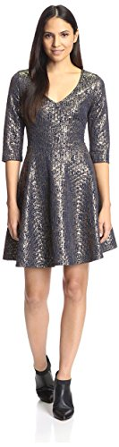 S.H.E. Soul Harmony Energy Women's Metallic Fit & Flare Dress, Navy/Gold, M
