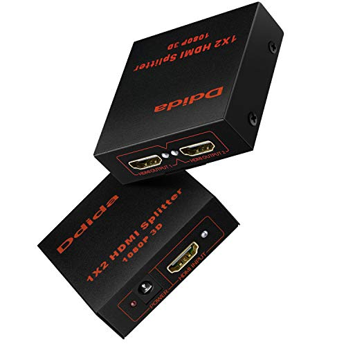 Hdmi Splitter 1 in 2 Out by DDIDA, Powered Full Ultra HD 1080P V1.4 HDMI Display,Support 4K/2K and 3D Resolutions 1 Input to 2 Outputs