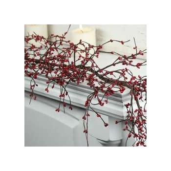 Garland country berry pips burgundy red primitive rustic twigs 4ft home kitchen for Decor star 005 ss