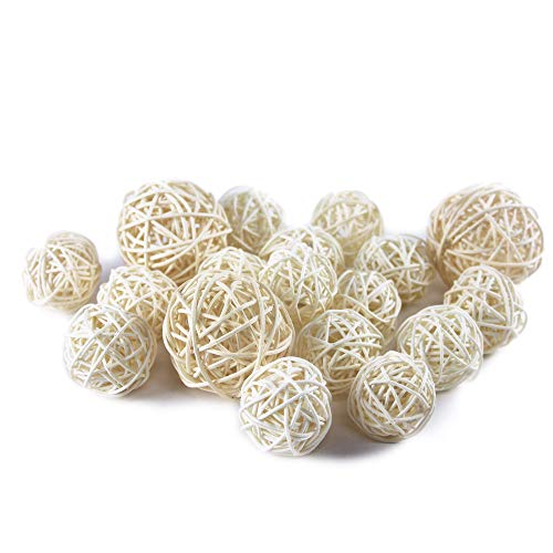 Qingbei Rina Wicker Rattan Balls Bag, Garden, Wedding, Party Decorative Crafts, House Ornaments, Vase Fillers Decorative Orbs Natural Spheres Christmas Tree. Set of 18. (Natural White) (White Sphere)