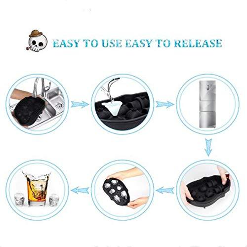 Totenkopf-Eiswürfelformen, flexible Silikon-Eiswürfelform, lustiger Eisschädel für Whiskey, Cocktails und Saftgetränke mit Mini-Trichter