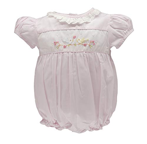 Carriage Boutique Baby Girl Hand Smocked Classic Bubble - Pink Spring Birds, 6M