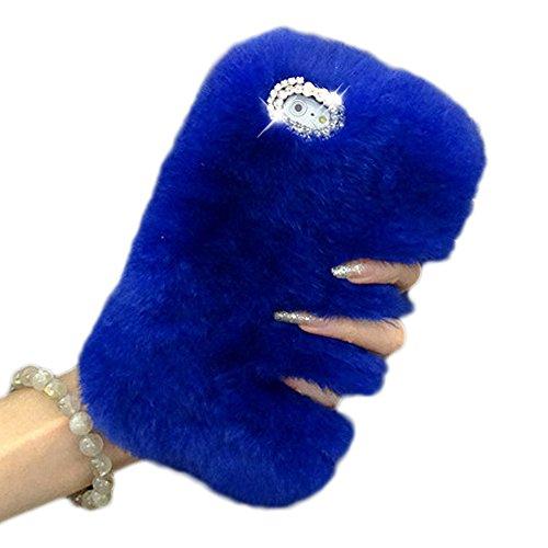 - iPhone 6S Plus Case,Vandot Ultra Slim Luxury Bling Crystal Diamond Fluffy Rex Rabbit Fur Case Warm Winter Handmade Soft Hair Plush Cover with Cute Bowknot for iPhone 6S Plus/6 Plus 5.5 inch -Blue