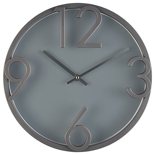 "Large Modern Wall Clock- Quality Quartz, Battery Operated - Grey, 12 Inch Round Decorative Elegant Home Clock- Bernhard Productsâ""¢"