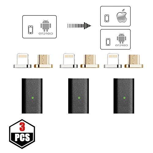 NetDot - Adaptador micro USB a micro USB magnético de 5ª generación para iPhone y Android, 3 unidades, color negro